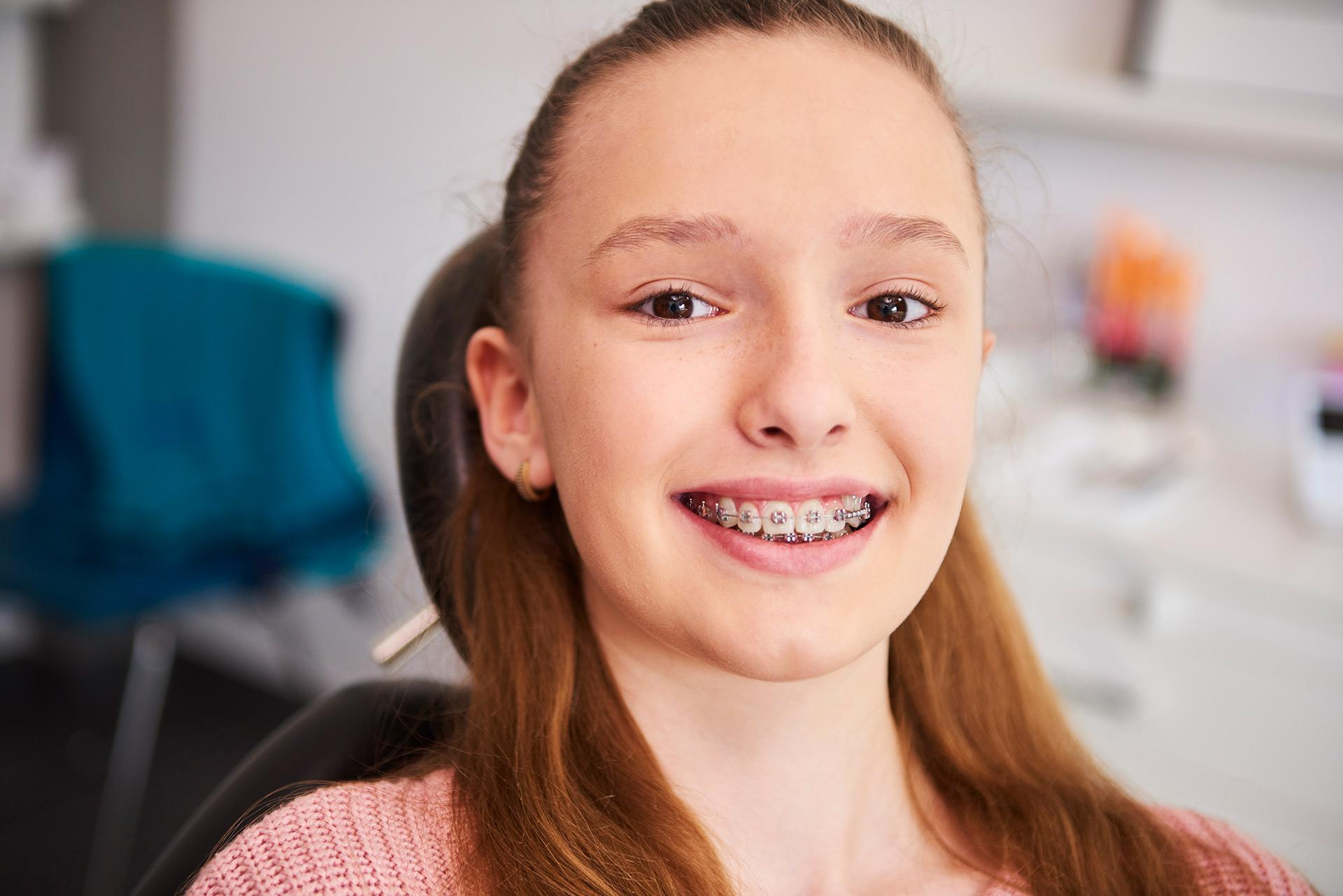 Young girl from Montrose at an appointment for her braces